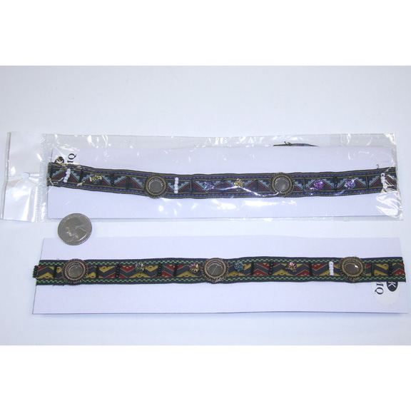 HIPPY HEADBAND WITH MIRRORS, BEADS & IRIDESCENT FLOWE