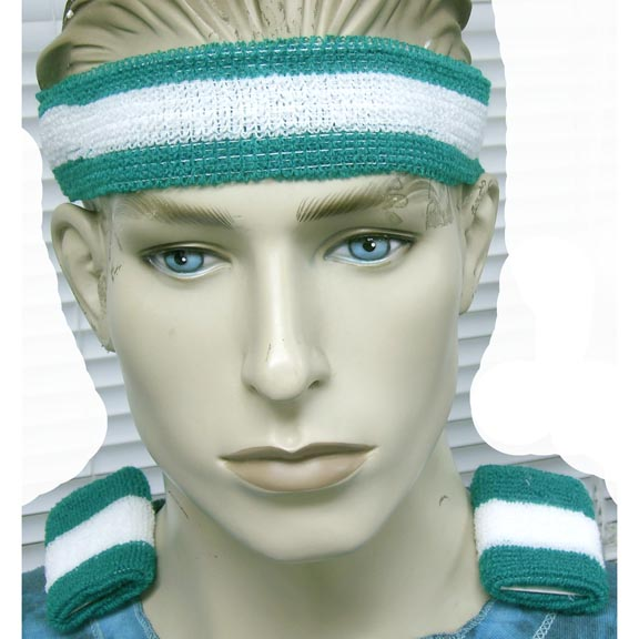 80&#39S SWEAT BAND SET 6 COLORS WITH  WHITE STRIPE