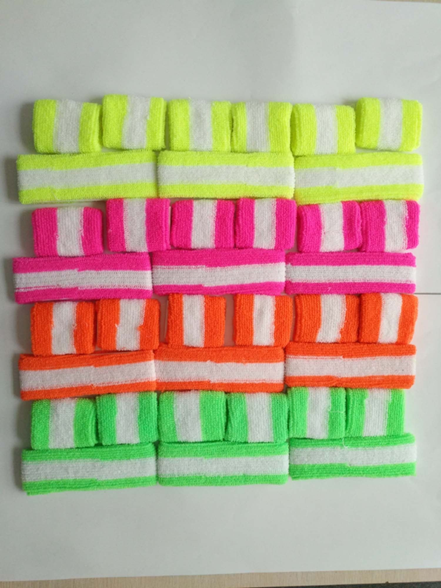 NEON & WHITE STRIPE SWEATBAND SET,  4 COLORS