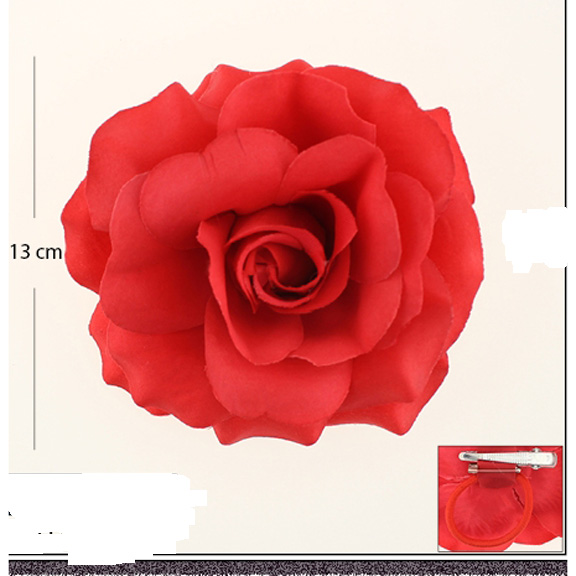 RED ROSE FLOWER HAIR CLIP 5 INCH DIAM (13CM)