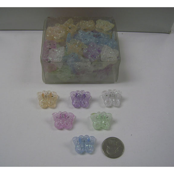 BUTTERFLY MINI HAIR CLIPS PASTEL GLITTER, 4 DZ/ CONTAINER