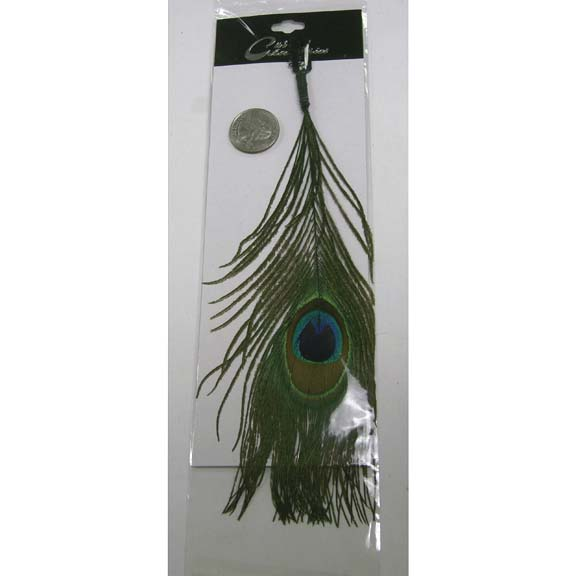 PEACOCK FEATHER HAIR CLIP, 10 INCHES LONG, 1 DZ ONLY