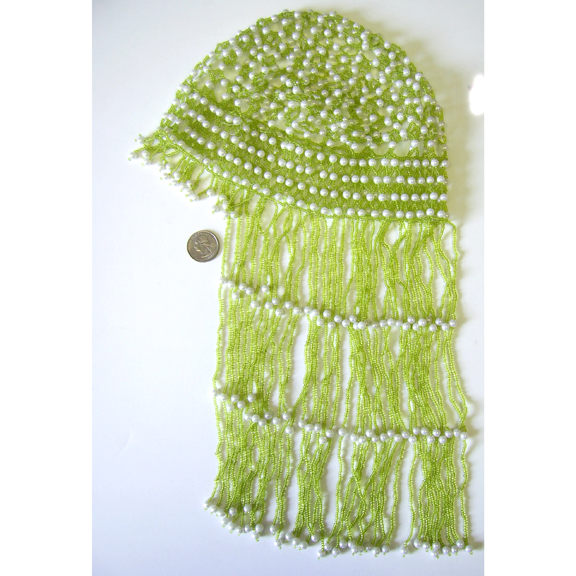BEADED HEAD PIECE GREEN SMALLER BEADS, WHITE LARGER BEADS