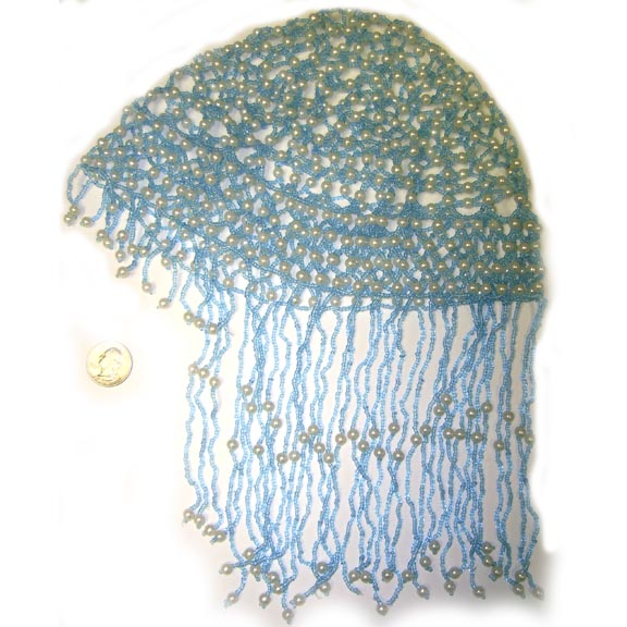 BEADED HEAD PIECE-BLUE/WHITE BEADS