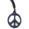 PEACE SIGN  BLACK(COCONUT) ON BLACK WOOD BEAD 28 INCH NECKLACE
