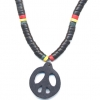 PEACE SIGN  W/ RASTA COLOR BEADS