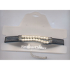 PEARL/BLACK PLEATHER CHOKER, ADJUSTABLE