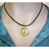 PEACE SIGN  CHOKER NECKLACE GOLD PENDENT