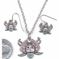 SKULL W/ GEMS NECKLACE AND EARRING SET