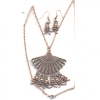 SKULLS NECKLACE & EARRING SET COPPER