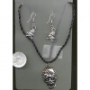 SKULL SPIDERON HEAD NECKLACE AND EARRING