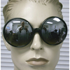 BIG ROUND BLACK FRAME SUNGLASSES, DARK LENS
