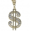 DOLLAR SIGN WITH 18 GEMS ON IT  NECKLACE