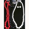 "ROUND BEAD NECKLACE(24"") AND EARRING SET"