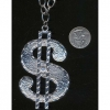 DOLLAR SIGN NECKLACE WITH 1 GEM IN SILVER ONLY