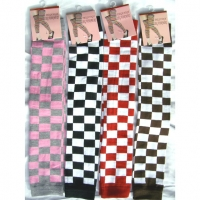 CHECKERBOARD PRINT LEG WARMERS