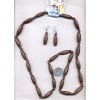 WOOD 40 INCH HIPPY NECKLACE/EARRING SET