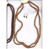 WOOD 58 INCH NECKLACE W/ EARRINGS