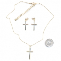 CROSS GOLD COLOR NECKLACE SET, PRICE BREAKS