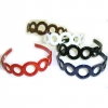CIRCLES PLASTIC ASST COLORS HEADBAND red, torotoise & brown only