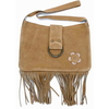 black and dark brown only in stock SUEDE HIPPY BAG W/ FRINGE