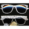 80&#39S BLUE BROTHERS NEWSPAPER PRINT WHITE SUNGLASSES