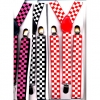 CHECKER BOARD PRINT SUSPENDERS