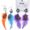 PEACE SIGN, WITH FEATHER EARRINGS