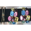 GOLD METAL BRACELET ASSORTED COLOR & SHAPES GEM HINGE BRACELET