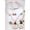 PEACE SIGN W/ FLOWER NECKLACE & EARRING SET