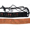 SUEDE EMBROIDERD HIPPY FLOWER  FRINGE BELT