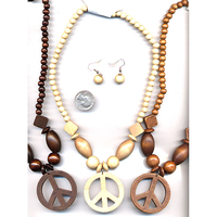 PEACE SIGN WOOD NECKLACE WITH SOME CHUNKY PIECES