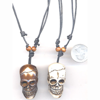 SKULL NECKLACE  BONE LOOK, ADJUSTABLE