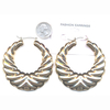METAL GOLD, LARGE RIPPLE LOOK EARRING