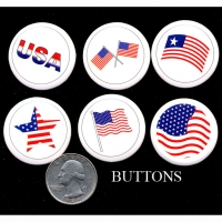 BUTTONS AMERICAN FLAG  6 STYLES
