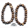 NATURAL LOOKING STRIPE  AND BROWN  BEAD BRACELET, POWER STYLE