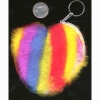 RAINBOW FUR KEYCHAIN COIN ZIPPER BAG HEART SHAPE