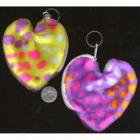 FUR, ASST COLOR LEOPARD KEY CHAIN BAG HEART SHAPE
