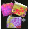 FUR LEOPARD PRINT BRIGHT COLORS KEYCHAIN BAG