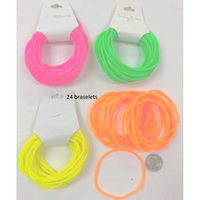 RUBBER BRACELETS NEON COLORS 24 PIECES PER CARD.