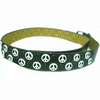 PEACE SIGN LEATHER STRAP BELT WITH B/W PEACE SIGNS