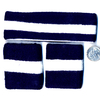 80&#39S TERRY CLOTH HEADBAND & WRISTBANDS SET NAVY BLUE/WHITE