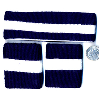 80'S TERRY CLOTH HEADBAND & WRISTBANDS SET NAVY BLUE/WHITE