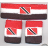 RED, WHITE, BLACK STRIPE SWEATBAND SET.  TRINIDAD FLAG