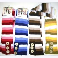 COLOR  STRIPE LEGWARMERS WITH WHITE AND  & BUTTONS