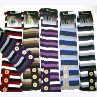 STRIPE LEGWARMERS W/ BUTTONS  COOL LOOKING