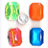 GEM RINGS IN NEON COLORS, RECTANGLE SHAPE ADJUSTABLE BAND
