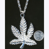 POT LEAF SIVER COLOR BIG NECKLACE
