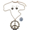 PEACE SIGN NECKLACE BAMBOO LOOK WITH EARRINGS, IN GOLD COLOR