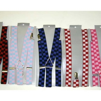 CHECKERBOARD PRINT SUSPENDERS, COLOR COMBO #2